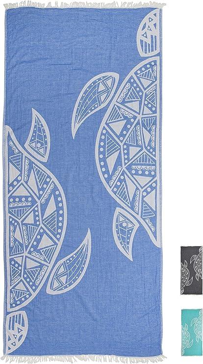 Teli Fouta Design Esclusivo Asciugamano Hammam Grande 100/% Cotone ZusenZomer Telo Mare Fouta XXL Tartaruga 95x200 Blu Telo Mare Turco Leggero e Morbido