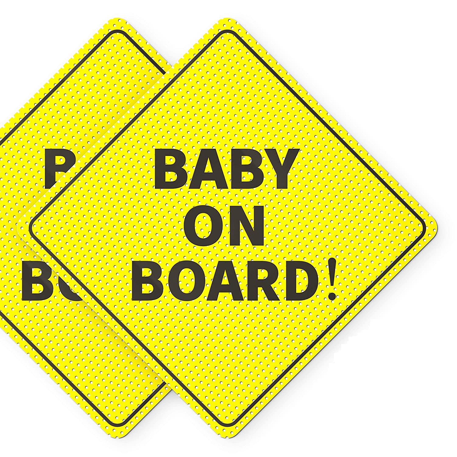 "Baby On Board Sticker Sign - Essential for Cars - 2 Pack, 5"" by 5"" - Bright Yellow and SEE-THROUGH when Reversing - Best Safety Signs - No Need for Suction Cup or Magnets - Durable and Strong Adhesive"