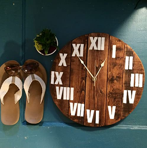 35b729056 Image Unavailable. Image not available for. Color  Large Circle Solid Wood  Wall Clock ...
