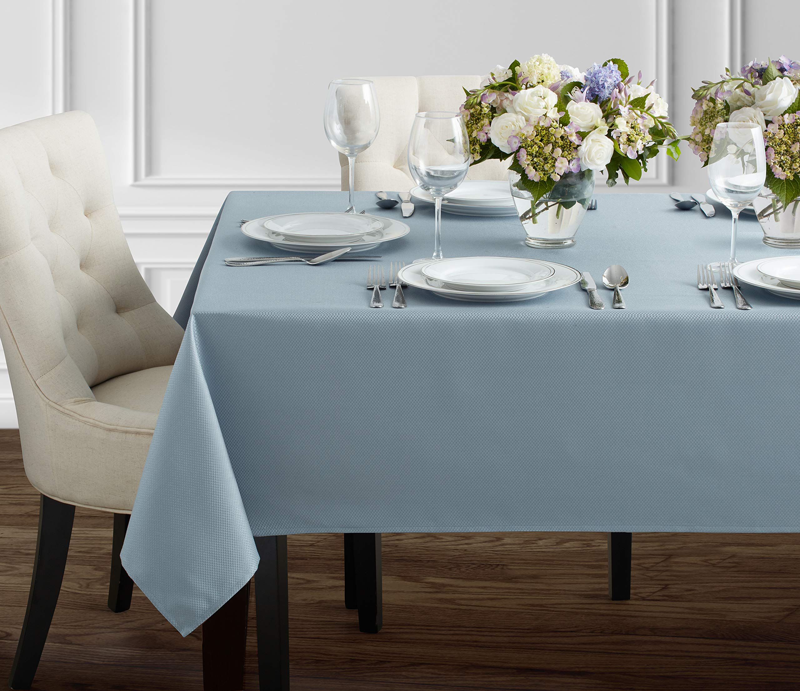 """Benson Mills Beauvalle Extra Wide Spillproof Tablecloth (68"""" X 84"""" Rectangular, Wedgewood Blue) - Treated polyester fabric tablecloth, extra wide. All liquids, even wine, bead up can be quickly wiped clean with a sponge or napkin Contemporary pattern Tablecloth, available in additional colors and sizes - tablecloths, kitchen-dining-room-table-linens, kitchen-dining-room - 91Fw1PVaVkL -"""