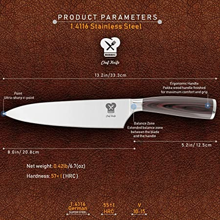 Professional Chef Knife 8 Inch by Maranc | Kitchen Knife German Stainless Steel Sharp Blade, Anti Corrosion & Ergonomic Pakka Wood Handle