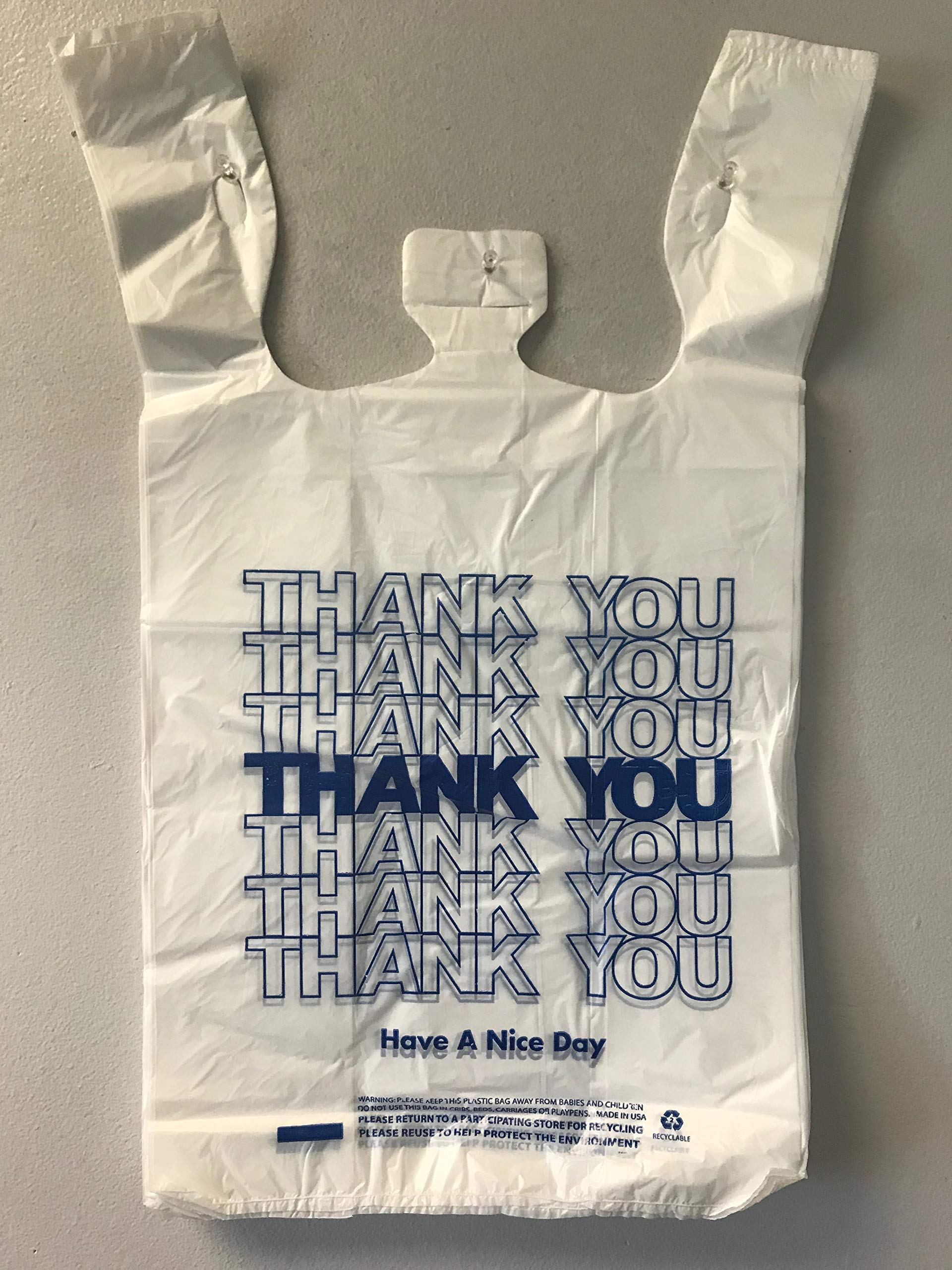 Blue Thank You T-Shirt Grocery Bags 12X7X22 17MIC 0.67MIL 440pcs/cs by TLC Packaging (Image #1)