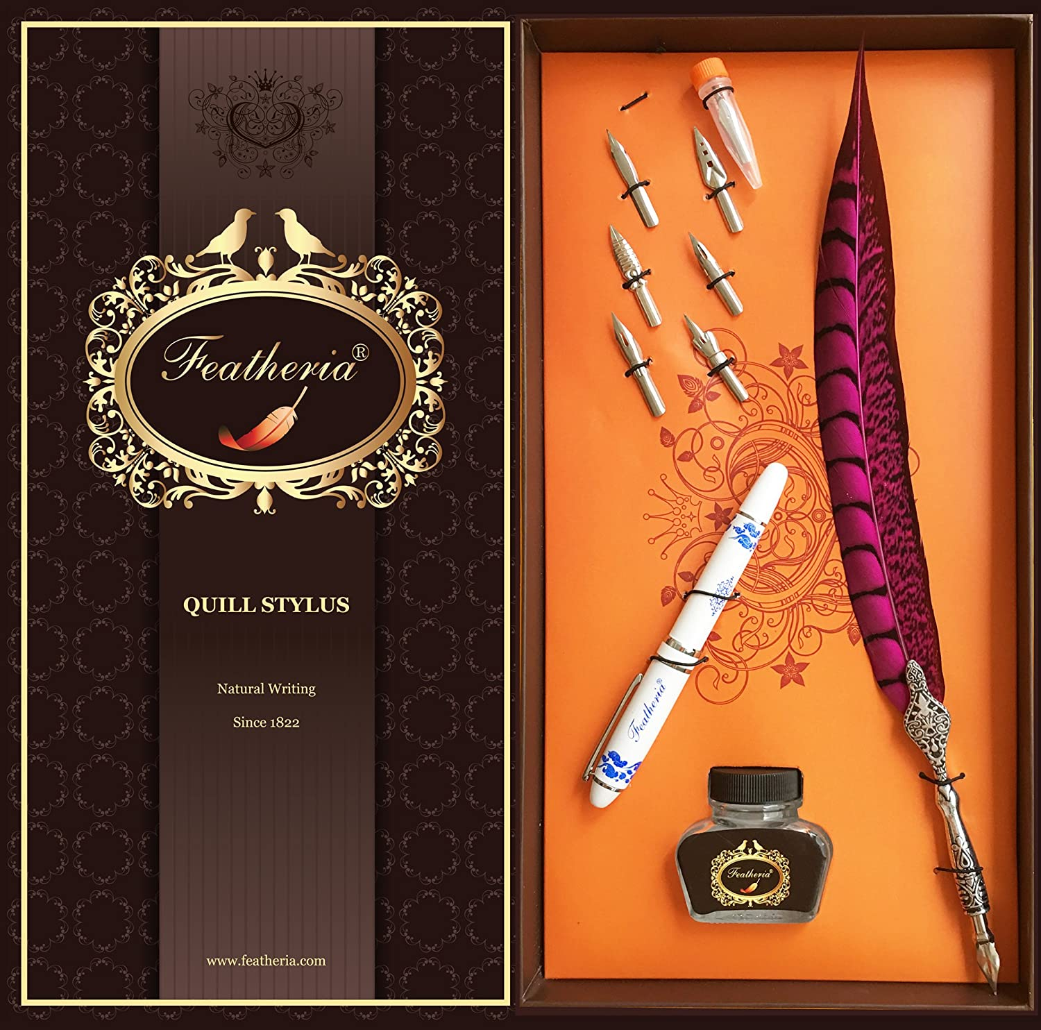 Featheria Fine Point Stylus & Quill Pen - for iPad, iPhone, Samsung Galaxy, Kindle Fire and Most Touch Screens. Great Gift! (Fuchsia Pheasant)