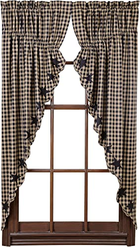 Pine Valley Quilts VHC Brands Black Star Scalloped Prairie Short Panel Set of 2 63x36x18 Primitive Rustic Country Curtains
