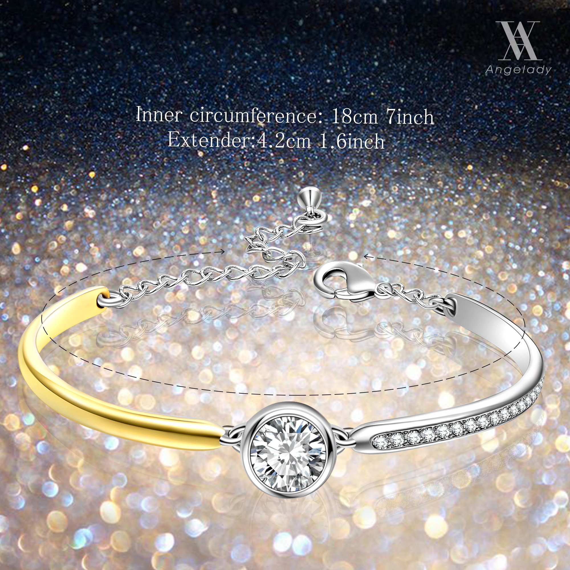 14K Gold Plated Encounter Bangle Bracelet Jewelry Gift for Birthday Anniversary, Crystal from Swarovski 7\