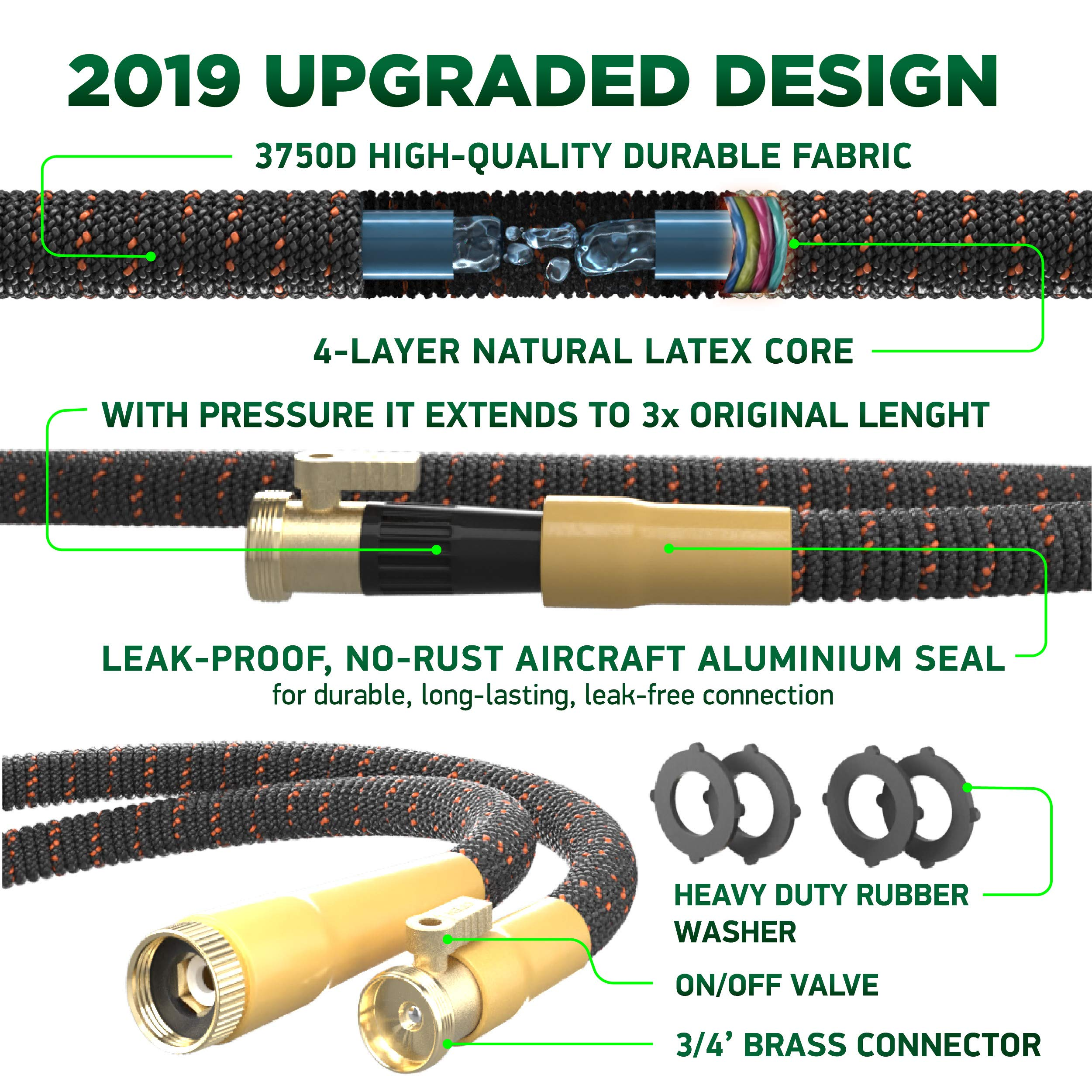 [UPGRADED 2019] 50 Feet Expandable Garden Water Hose - Superior Strength 3750D | 4-Layers Latex | Extra-Strong Brass Connectors | 10-Way Durable Zinc Spray Nozzle, 2-Way Pocket Flexible Splitter by TBI Pro (Image #3)