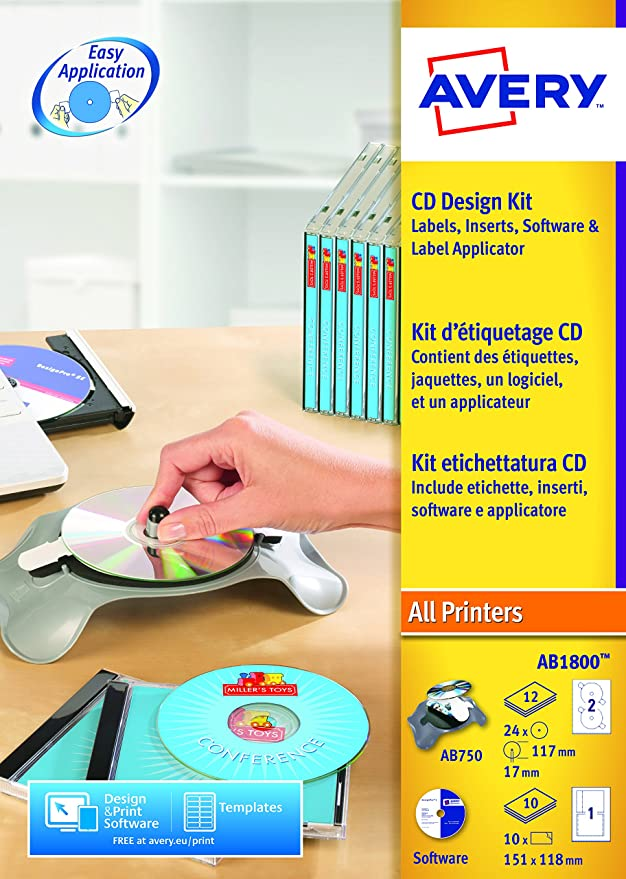 Avery Ab1800 Cd Design Kit With Applicator Software Disc Printable