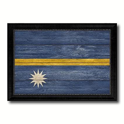 Amazon Com Nauru Country Flag Texture Canvas Print Wood Grain