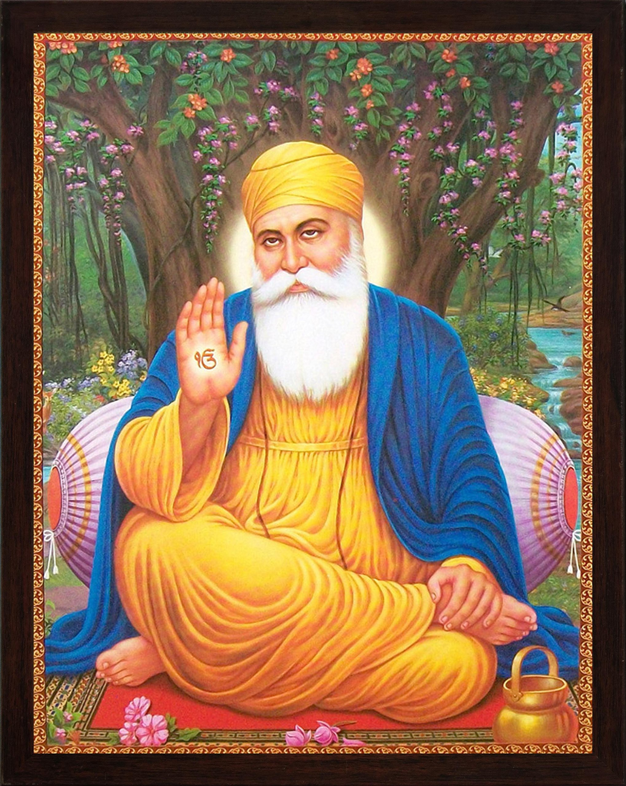 Handicraft Store Guru nanak Dev ji Sitting Under Tree and Giving Blessings with ekumkar Symbol in Hand, A Painting Poster with Frame, Must for Family Home/Office/Gift Purpose