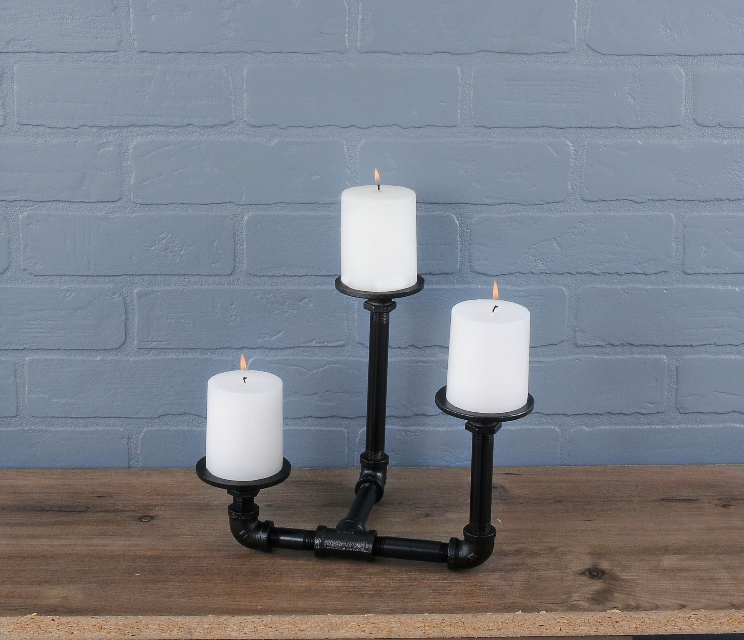 Pipe Décor Industrial 3 Branch Pillar Candle Holder Complete Set Electroplated Black Finish - 38CNPL4-BK- Rustic and… 4
