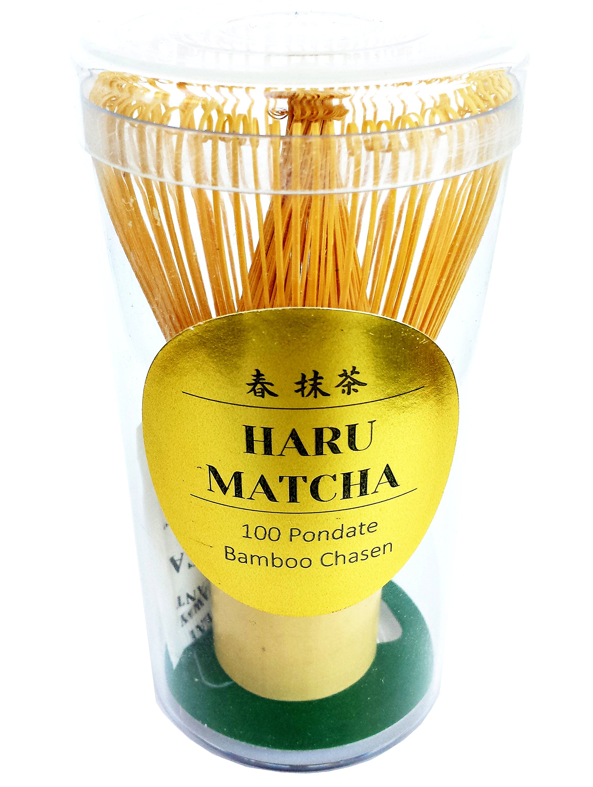 HARU MATCHA - MADE IN JAPAN - Traditional Handcarved Golden Bamboo Matcha Whisk (100 Prongs)