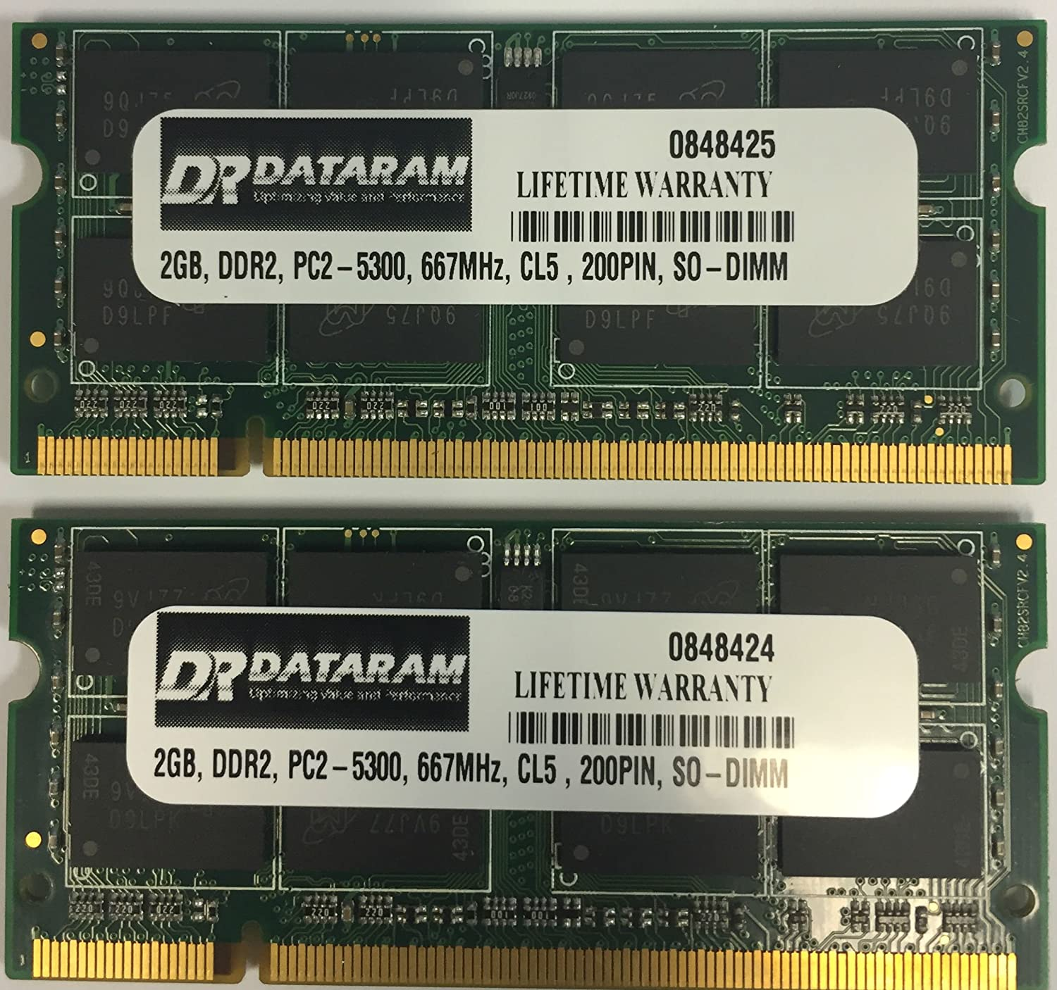 4gb 2 X 2gb Ddr2 Pc2 5300 667mhz Cl5 200pin So Dimm Memory Ram With Dataram At
