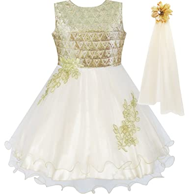 dcc6367a3c37c Sunny Fashion Robe Fille Fleur Champagne Pétillant Dentelle Habiller  Reconstitution Historique 4 Ans
