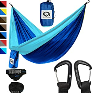 KOR Outdoors Lightweight Camping Hammock with Upgraded Aluminum Carabiners and Quick Set Tree Straps - Big Enough for 2 People