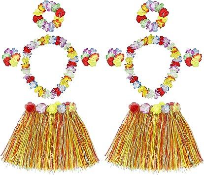 HONGXIN-SHOP Falda de Hierba Hawaiana con Elástica Flores ...