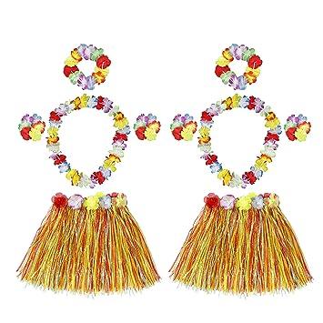 HONGXIN-SHOP Falda de Hierba Hawaiana con Elástica Flores Disfraces Guirnalda Diadema Pulsera Collar para Niñas Mujer Fiesta Hula Luau Accesorio 2 ...