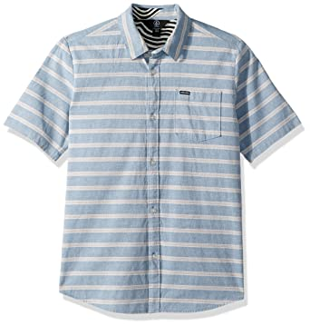 a6d86352 Amazon.com: Volcom Big Boys' Branson Woven Striped Short Sleeve Shirt:  Clothing