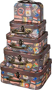 Soul & Lane Decorative Cardboard Suitcase Boxes (Set of 5) | Going Places Theme with Handles | Paperboard Boxes with Lids for Organizing
