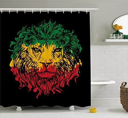 Ambesonne Rasta Shower Curtain, Ethiopian Flag Colors On Grunge Sketchy  Lion Head With Black Backdrop