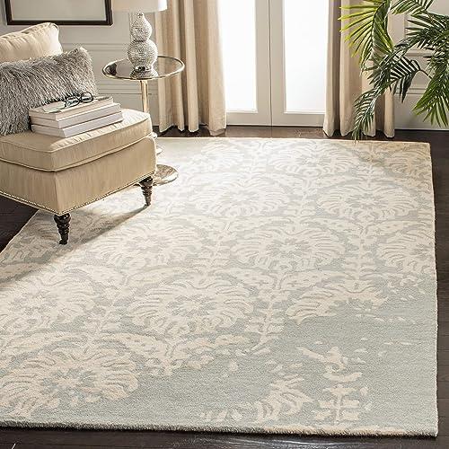 Safavieh Bella Collection BEL125B Handmade Light Grey and Ivory Premium Wool Area Rug 8' x 10'