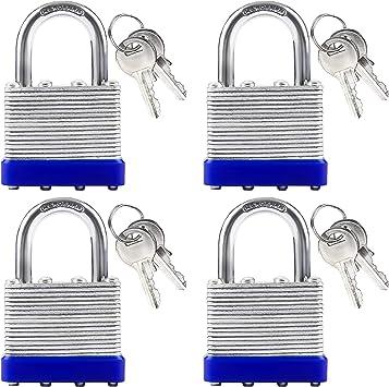 Candado (Pack de 4) - (6,5 x 4 x 1,5cm) - 2 x Llaves Candado 40mm Acero a Prueba de Alta Seguridad Candado Resistente para Exteriores, Garaje, Gimnasio, Bicicleta: Amazon.es: Bricolaje y herramientas