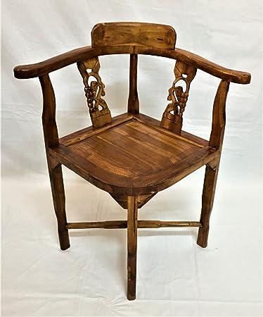 Sedia artigianale Etnica legno Teak Massello con intagli Shabby Chic  arredamento etnico stile liberty set Studio Vintage Mobili Etnici