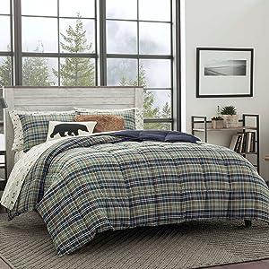 Eddie Bauer Rugged Plaid Comforter Set, Twin, Dune