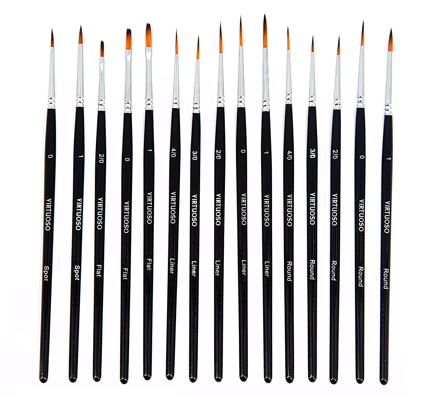 Virtuoso 15-Piece Fine Paintbrushes, Handmade Detail Paint Brush Set