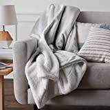 Amazon Basics Ultra-Soft Micromink Sherpa Blanket - Twin, Grey