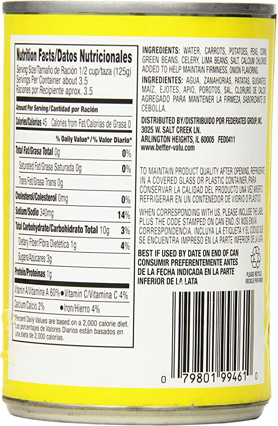 Better Valu Mixed Vegetables, 15 Ounce (Pack of 24): Amazon ...