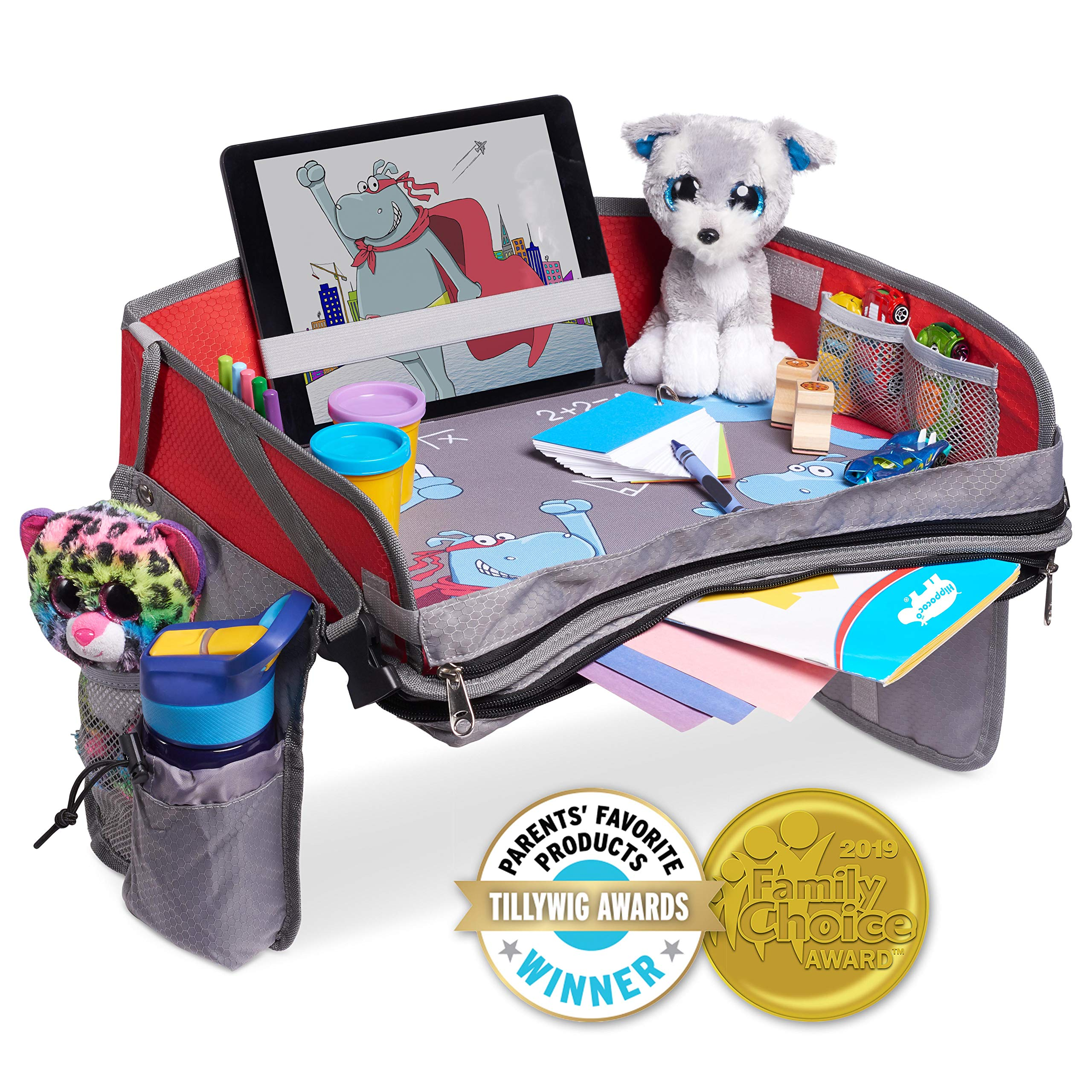 Hippococo Kids Travel Tray: Premium Portable Activity Organizer, Non-Flimsy, Padded Base, Large Storage Pocket, Sturdy Walls, Waterproof, Tablet Holder, Universal Fit - Car Seats, Strollers & Airplane by Hippococo