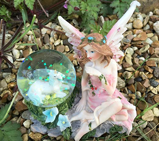 Hermoso adorno de hada y balón de agua para jardín, diseño de ...