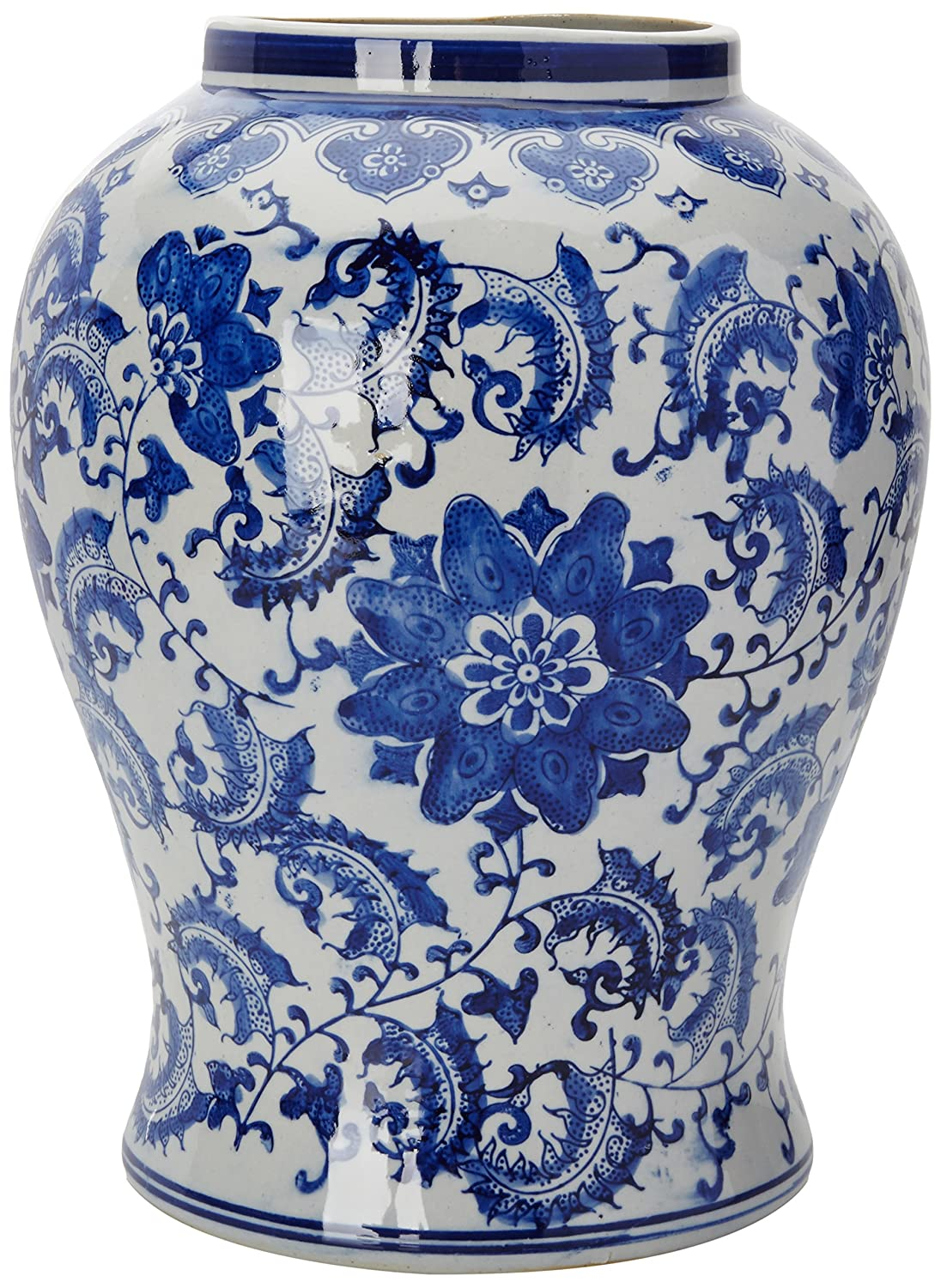 Amazon oriental furniture 18 floral blue white porcelain amazon oriental furniture 18 floral blue white porcelain temple jar home kitchen reviewsmspy