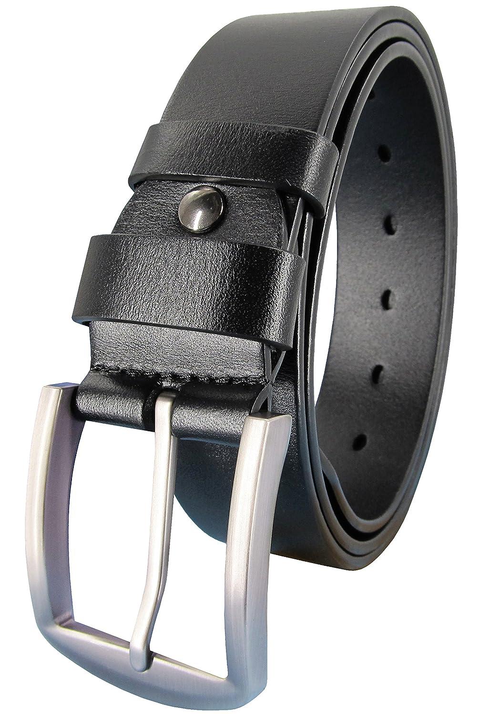 Ledamon Men's 100% Full Grain Leather Belt Durable Genuine Leather Belt 1.5 Width (32 Inch, Black)