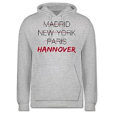 Städte - Weltstadt Hannover - 3XL - Grau meliert - JH001 - Männer Premium  Kapuzenpullover /