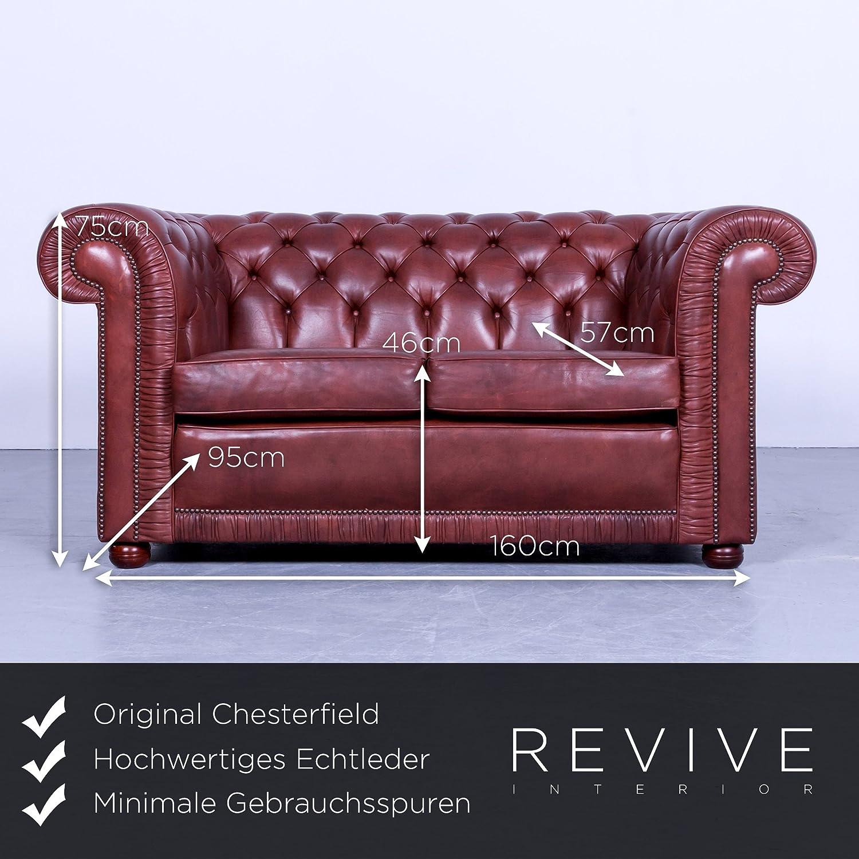 Chesterfield Sofa Rot Braun Leder Zweisitzer Couch Echtleder Vintage
