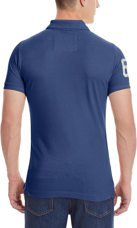 Superdry Vintage Football Applique Polo Camisa, Azul, S para ...