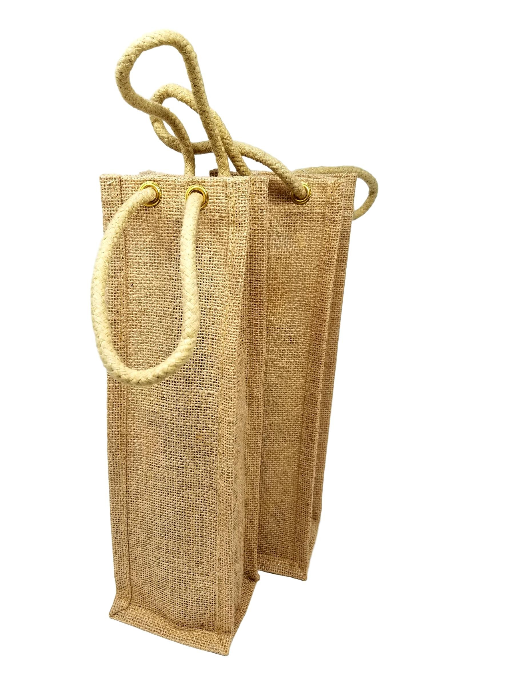 Wine Gift Bags - Reusable, Burlap Travel Bottle Carrier with Handles
