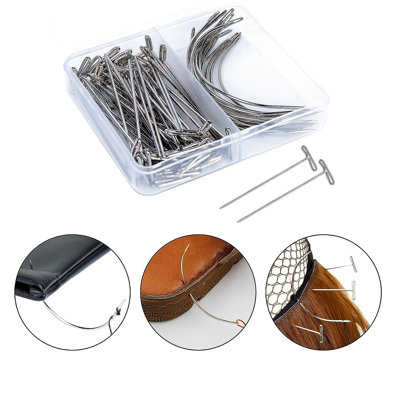 Per/ücke Herstellung Pins Nadeln Set 70 St/ück T-Stifte und C Gebogene Nadeln Set Edelstahl f/ür Haarwebart-Erweiterung mit 328 Yards Thread Knitting Craft Lace Per/ücken