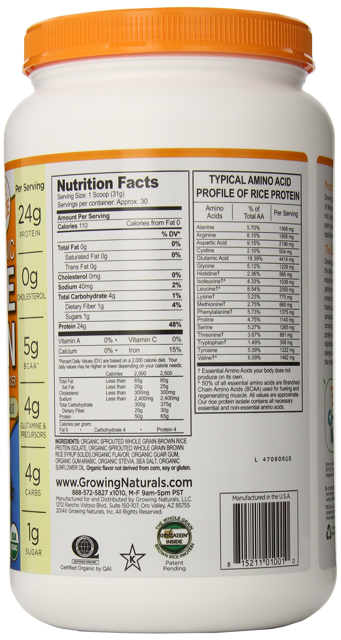 Growing Naturals Organic Rice Protein Powder, Vanilla Blast, 32.8 Ounce by Growing Naturals (Image #4)