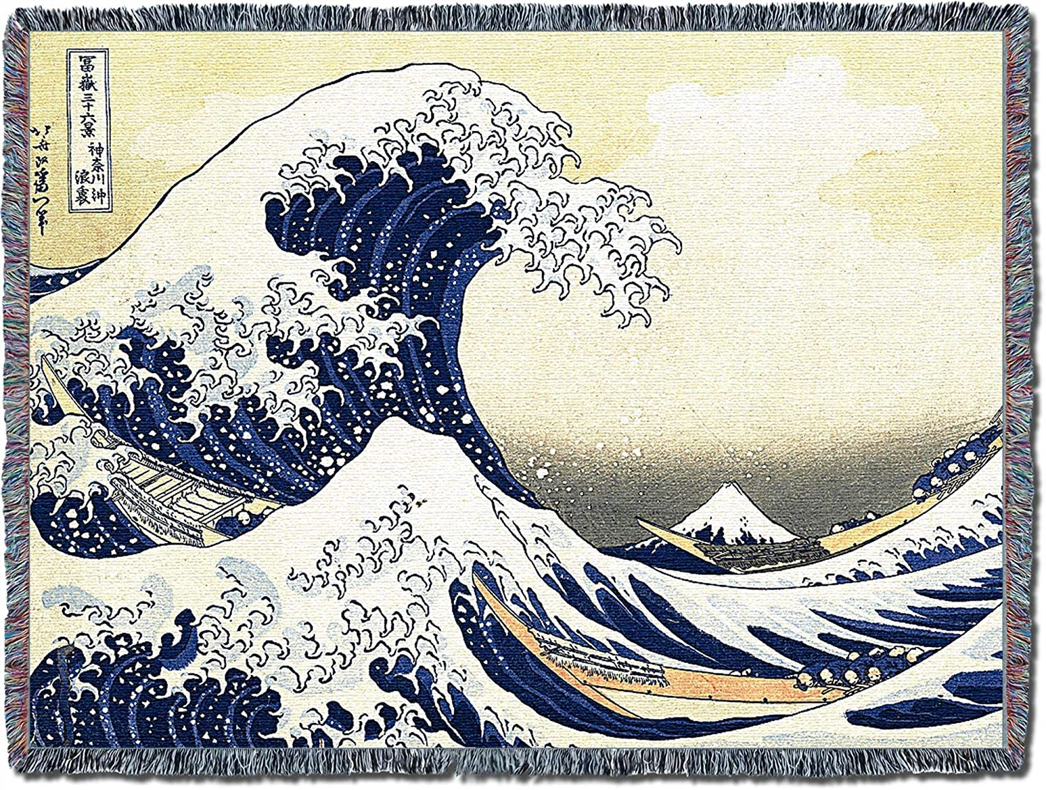 Pure Country Weavers Great Wave of Kanagawa Large Soft Comforting and Throw Blanket with Artistic Textured Design Cotton USA 72x54 Cotton for Mother Daughter Father Son