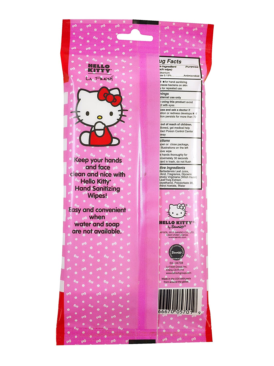 Amazon.com : Disposable Hand Sanitizing Travel Wipes: Hello Kitty Fresh Cleansing Sanitizer Wipe for Hands or Face with Aloe - 30 Count, Pack of 6 (total ...