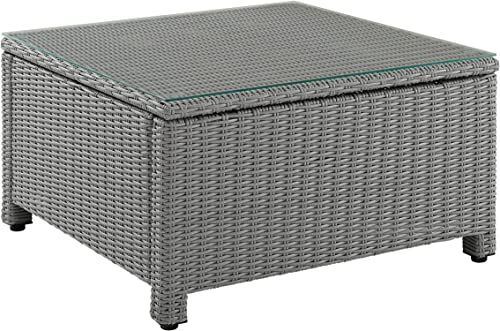 Crosley Furniture CO7207-GY Bradenton Outdoor Wicker Square Tempered Glass Top Coffee Table, Gray