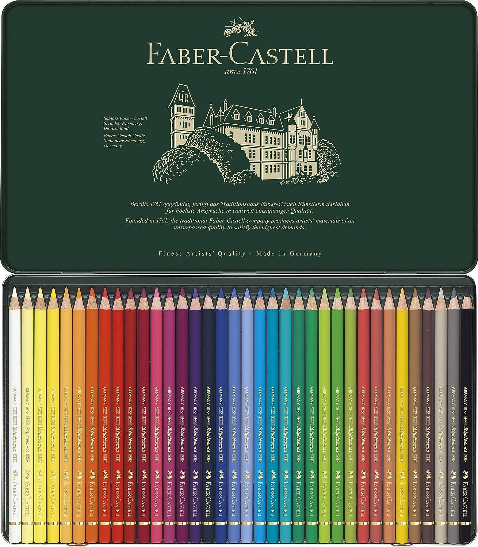 Faber-Castell-110036 Lápices de Colores, 36 Unidades,, ecolápices polychromos (110036);Faber-Castel 110036 - Künstler Farbstifte Polychromos 36Stück in Metallbox, multicolor: Amazon.es: Juguetes y juegos