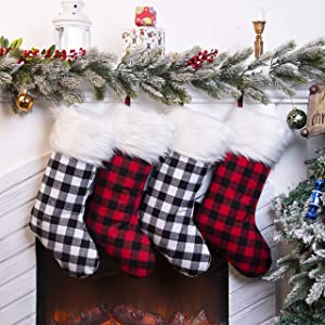 "SmileWay Christmas Stockings 4,18"", Buffalo Plaid Christmas Stockings with Plush Cuff, for Farmhouse Christmas Decor - Christmas Decorations Clearance."