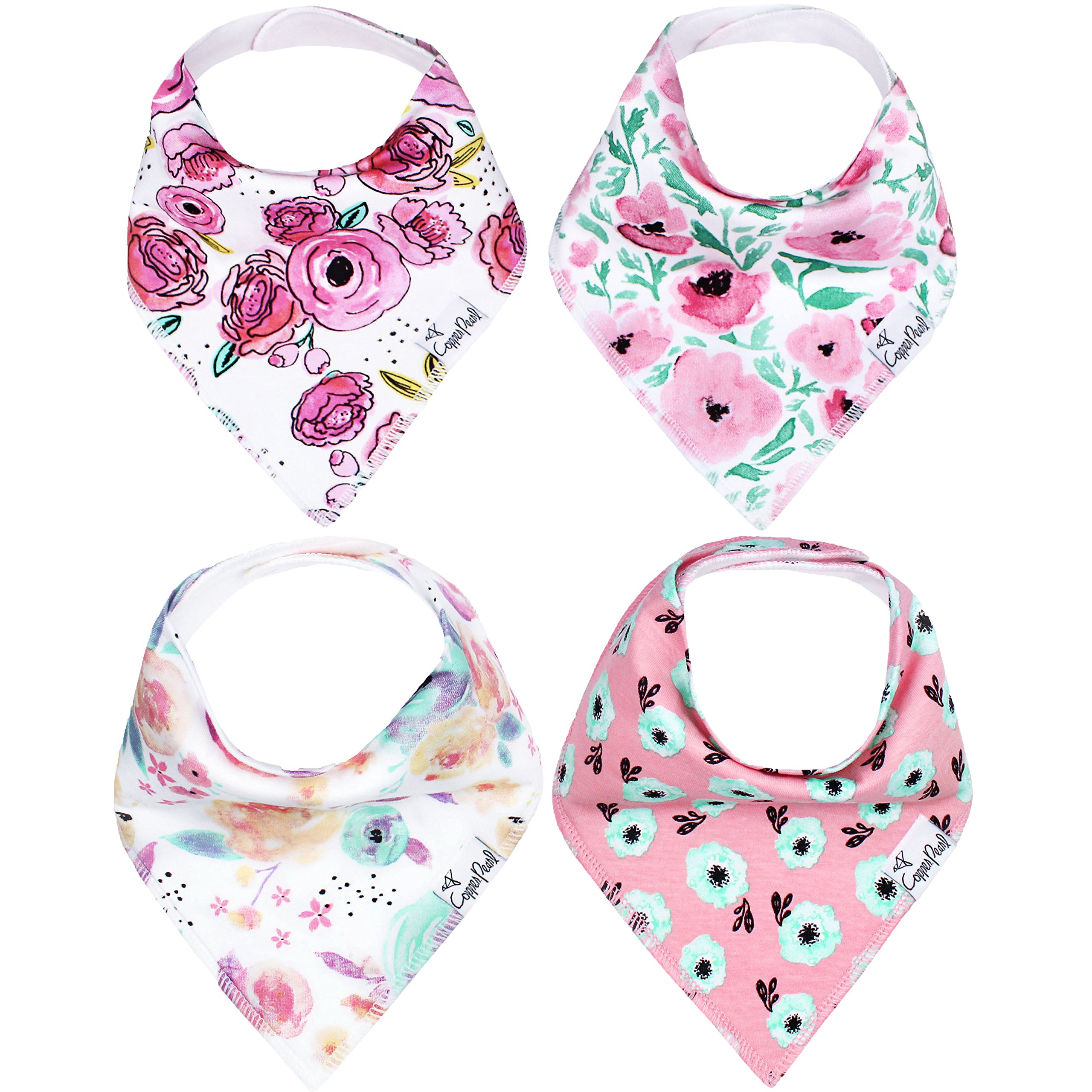 Baby Bandana Drool Bibs for Drooling and Teething 4 Pack Gift Set for Girls ''Bloom Set'' by Copper Pearl by Copper Pearl