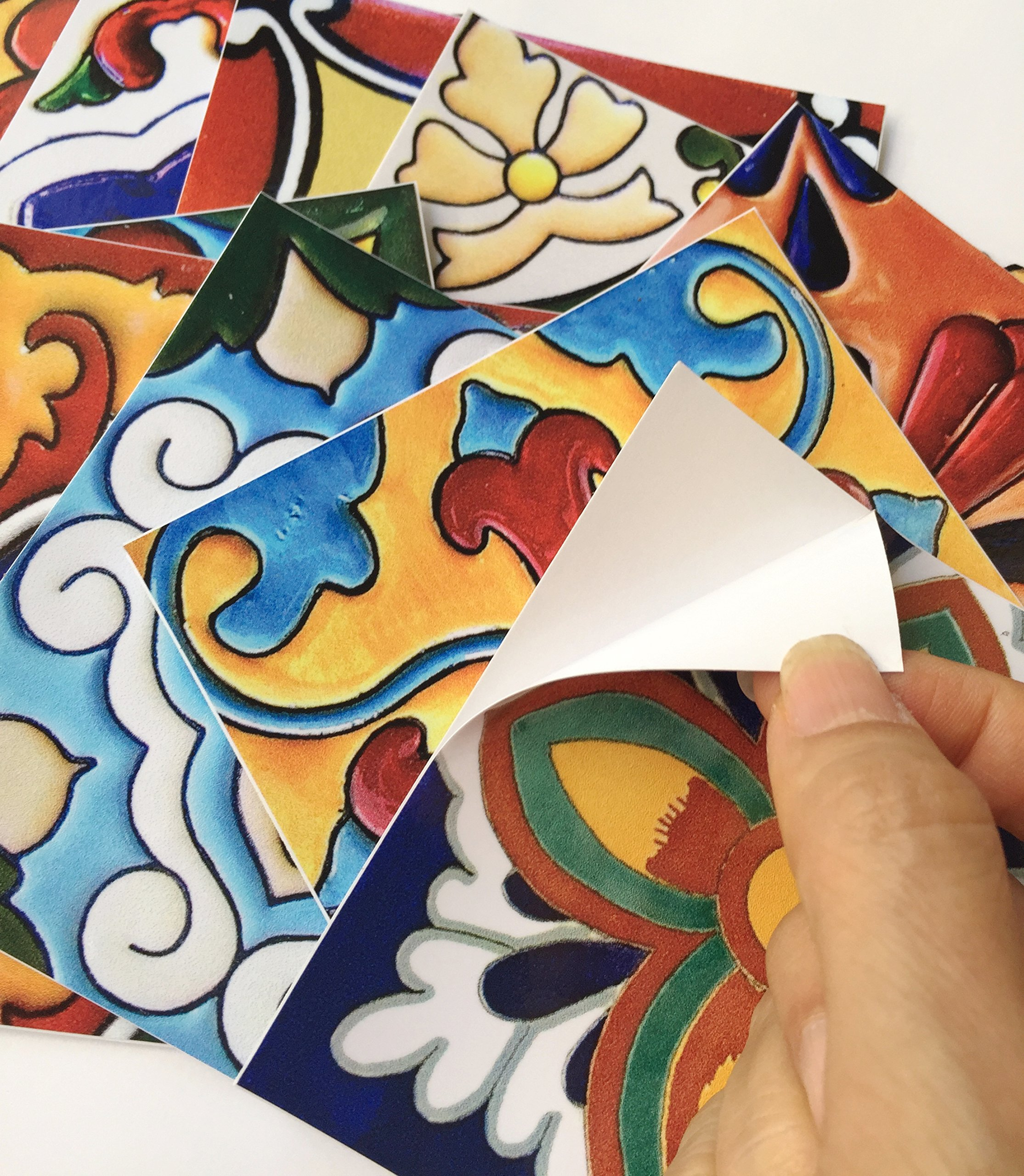 SnazzyDecal Tile Stickers Mexican Spanish 40pc 4-1/4in Peel and Stick for Kitchen and Bath Tr001-4Q by SnazzyDecal (Image #6)