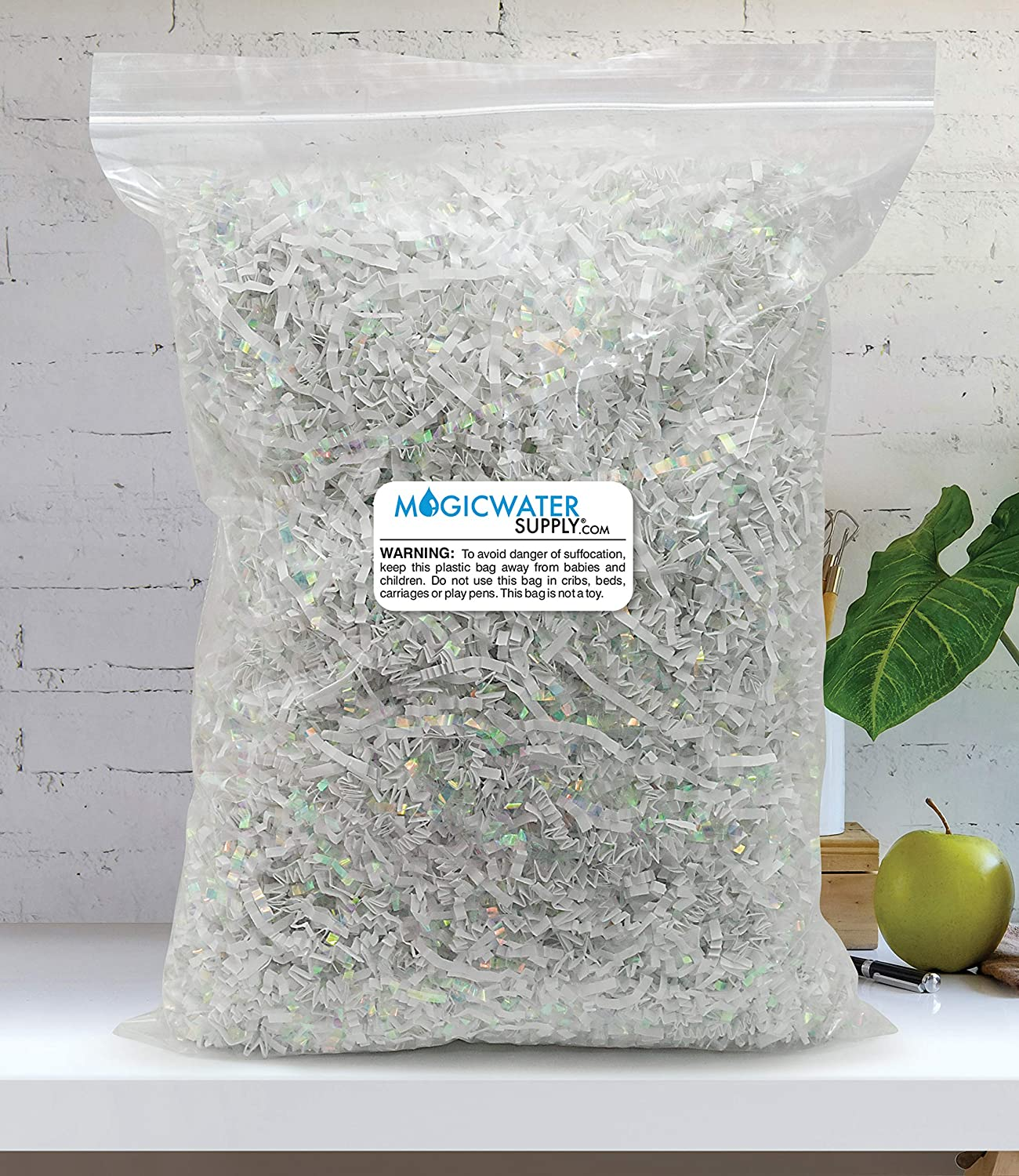 Crinkle Cut Paper Shred Filler (1/2 LB) for Gift Wrapping & Basket Filling - Diamond White   MagicWater Supply: Home & Kitchen