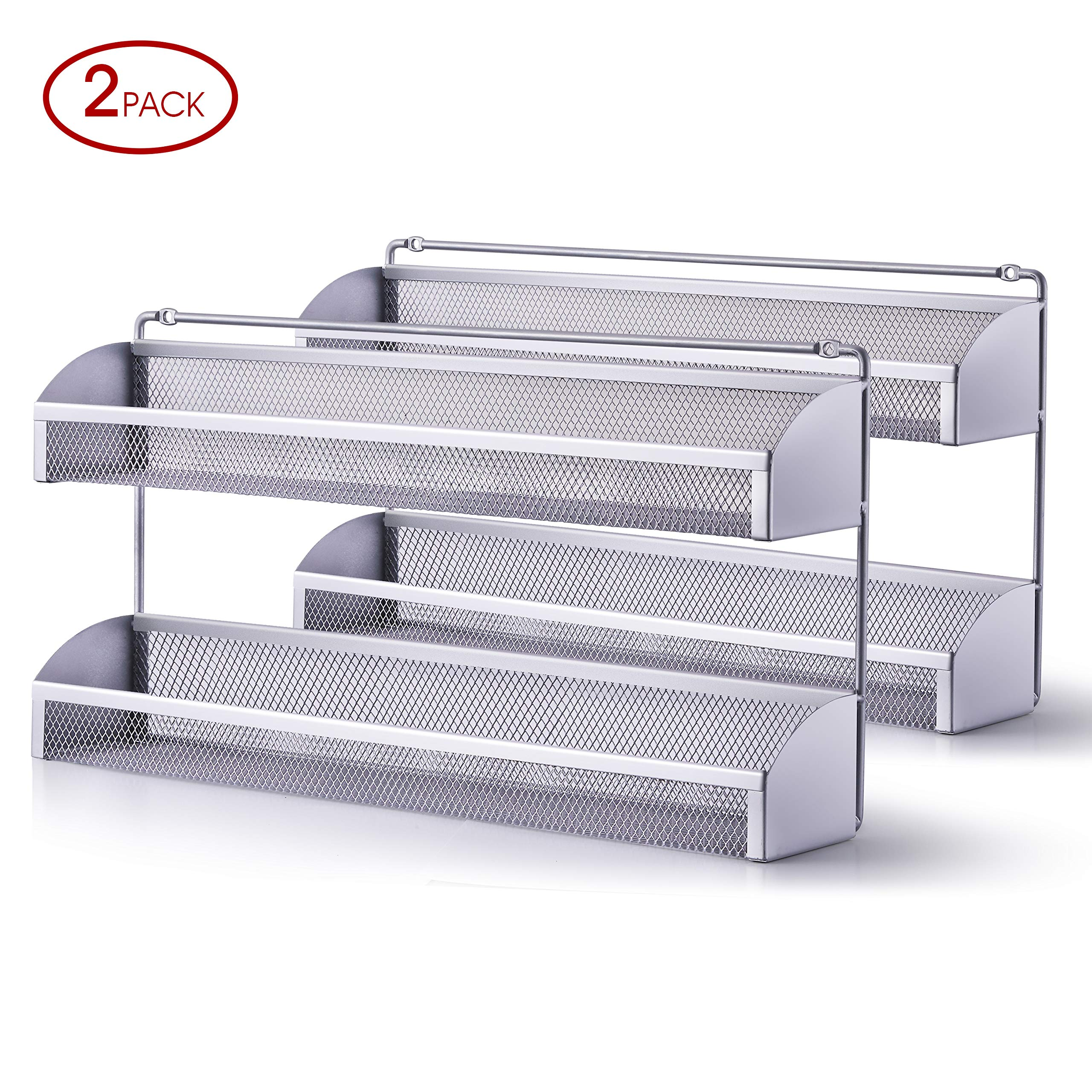 2 Pack- Simple Trending 2 Tier Spice Rack Organizer, Wall Mounted Spice Shelf Storager Holder for Kitchen Cabinet Pantry Door, Silver by Simple Trending