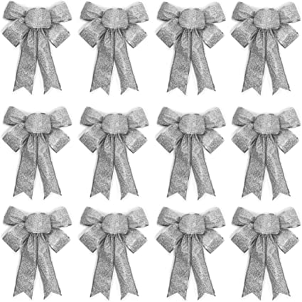 12 Silver Glitter Bows Christmas